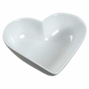 Schaaltje wit hart 13 cm