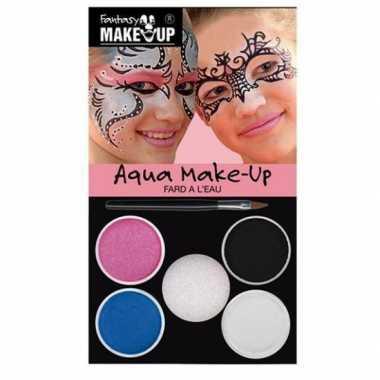 Schminkset roze/blauw/zilver/wit/zwart