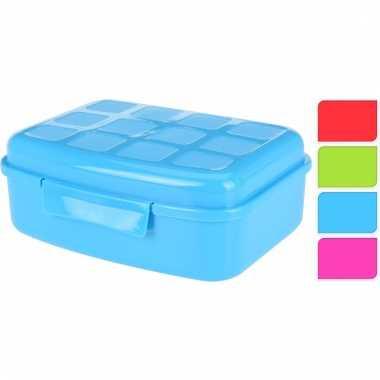 School broodtrommel blauw 19 cm