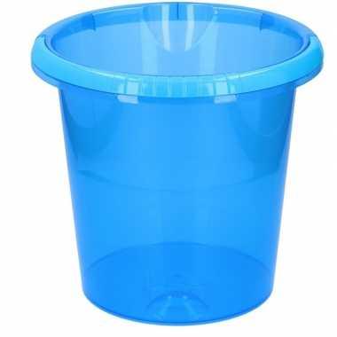 Schoonmaak / huishoud emmer transparant blauw 10 liter