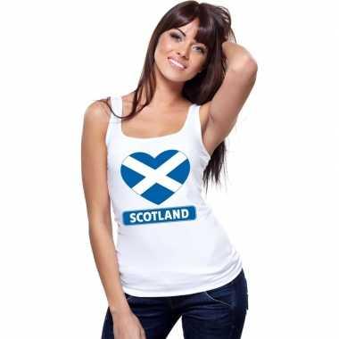 Schotland hart vlag singlet shirt/ tanktop wit dames