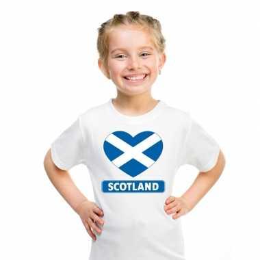 Schotland hart vlag t-shirt wit jongens en meisjes