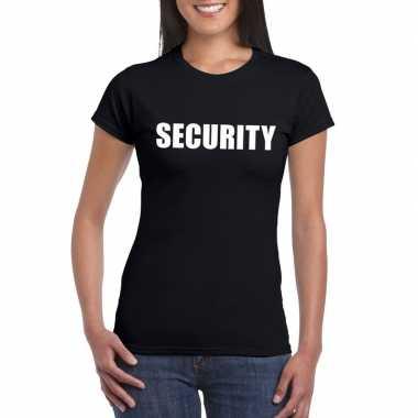 Security tekst t-shirt zwart dames