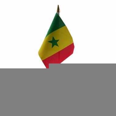 Senegal tafelvlaggetje 10 x 15 cm met standaard