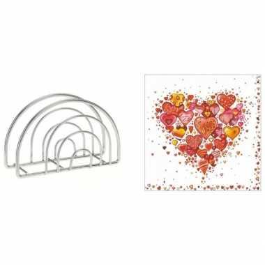 Servethouder met gekleurde hartjesprint servetten