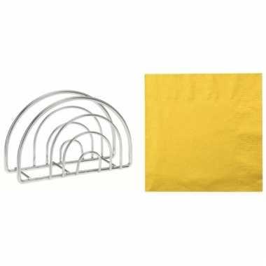 Servettenhouder met pasen servetten geel
