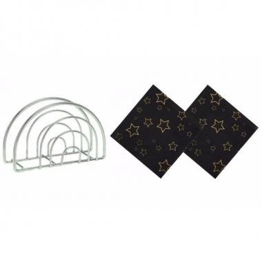 Servettenhouder met zwarte kerst servetten sterren