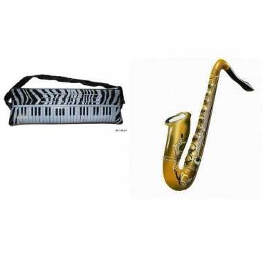 Set 2x opblaasbare muziek instrumenten saxofoon en keyboard