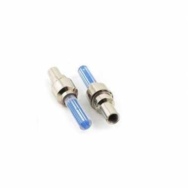 Set fietsverlichting blauw voor wiel ventiel incl. batterijen
