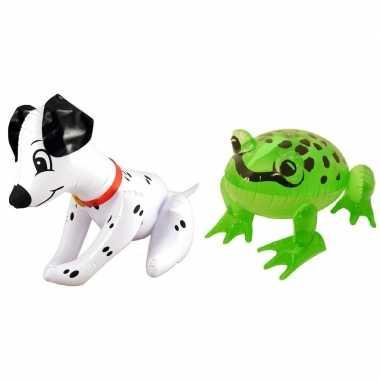 Set opblaasbare hond en kikker