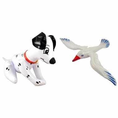 Set opblaasbare hond en meeuw