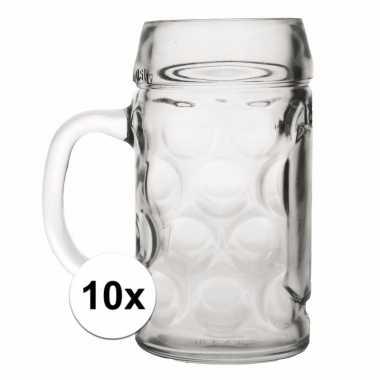 Set van 10 goedkope duitse bierpullen 1 liter