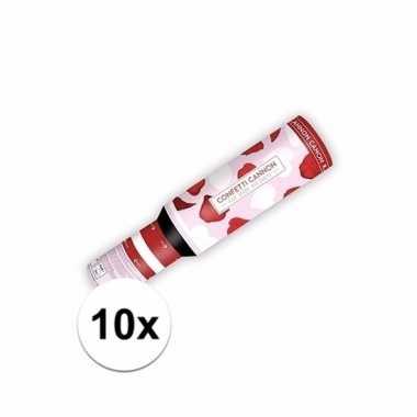Set van 10x confetti popper hartjes en rozenblaadjes