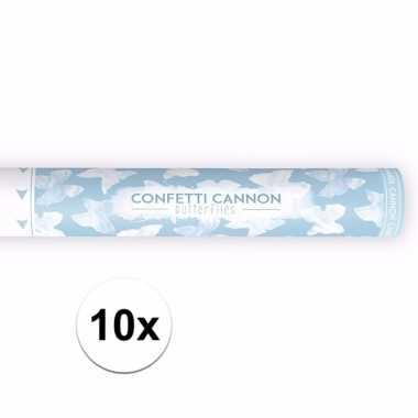 Set van 10x confetti shooters witte vlinders 40 cm