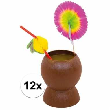 Set van 12x hawaii/tropische party kokosnoot drinkbekers