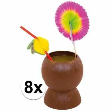 Set van 8x hawaii/tropische party kokosnoot drinkbekers