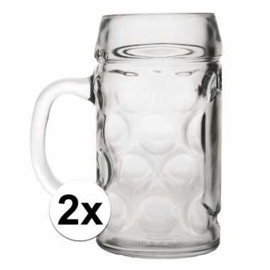 Set van voordelige 2 duitse bierpullen 1 liter