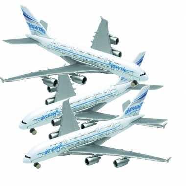 Setje van 3x stuks metalen speelgoed vliegtuigjes van 14 cm