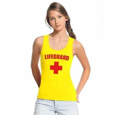 Sexy lifeguard/ strandwacht mouwloos shirt geel dames