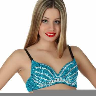 Sexy pailletten top blauw