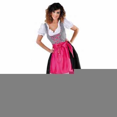 Sexy tiroler jurkje zwart met roze schort