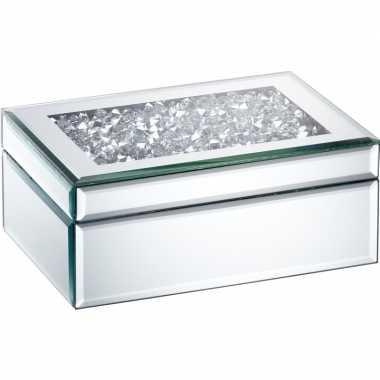 Sieradenkistje spiegel/zilver 22 x 15 cm met diamanten