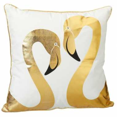 Sierkussen flamingo wit met 2 gouden flamingo's 45 x 45 cm