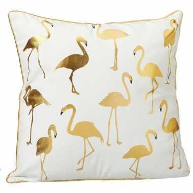 Sierkussen flamingo wit met allover flamingoprint 45 x 45 cm