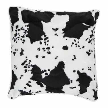 Sierkussen fluweel met koeienprint zwart/wit 47 x 47 cm