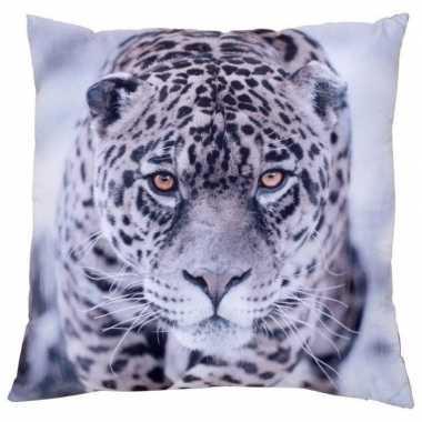 Sierkussen met print van jaguar/luipaard 30 x 30 cm