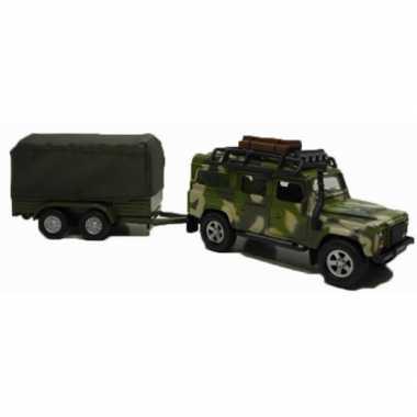 Siku speelgoed auto landrover met aanhanger