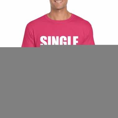 Single/ vrijgezel tekst t-shirt roze heren