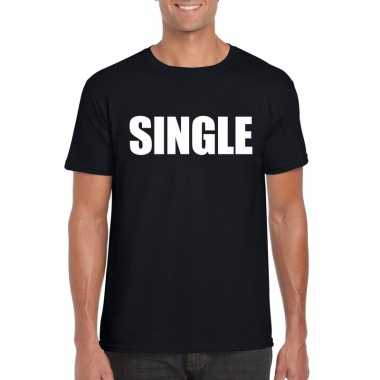 Single/ vrijgezel tekst t-shirt zwart heren