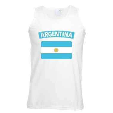 Singlet shirt/ tanktop argentijnse vlag wit heren