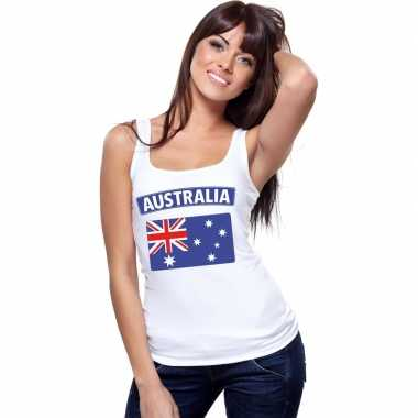 Singlet shirt/ tanktop australische vlag wit dames
