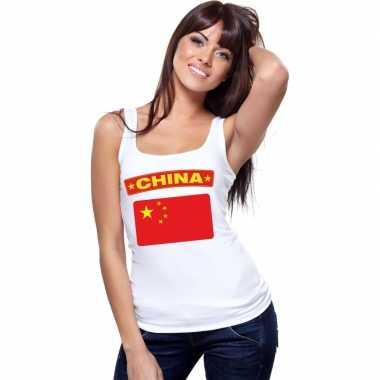 Singlet shirt/ tanktop chinese vlag wit dames