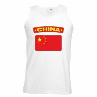 Singlet shirt/ tanktop chinese vlag wit heren