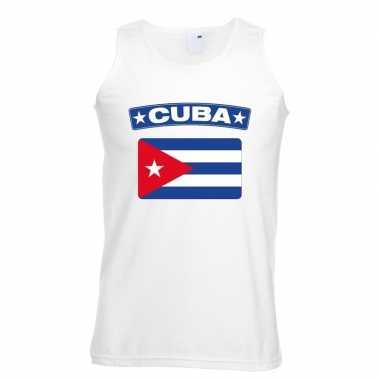 Singlet shirt/ tanktop cubaanse vlag wit heren