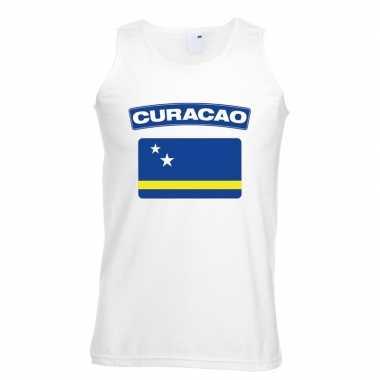Singlet shirt/ tanktop curacao vlag wit heren
