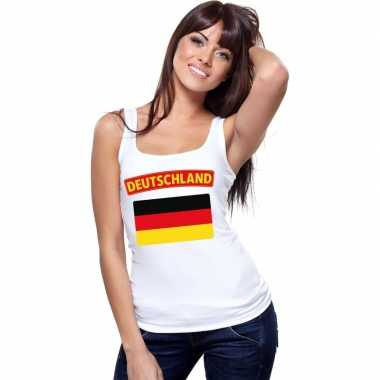 Singlet shirt/ tanktop duitse vlag wit dames
