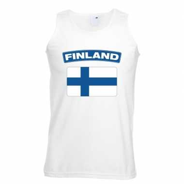 Singlet shirt/ tanktop finse vlag wit heren