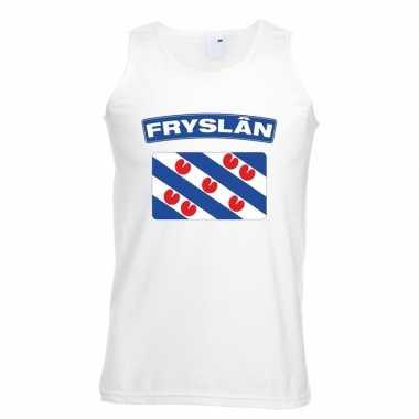 Singlet shirt/ tanktop friese vlag wit heren