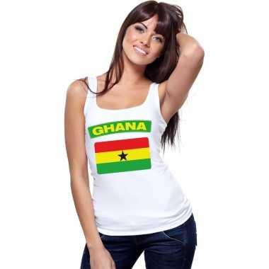 Singlet shirt/ tanktop ghana vlag wit dames