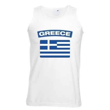 Singlet shirt/ tanktop griekse vlag wit heren