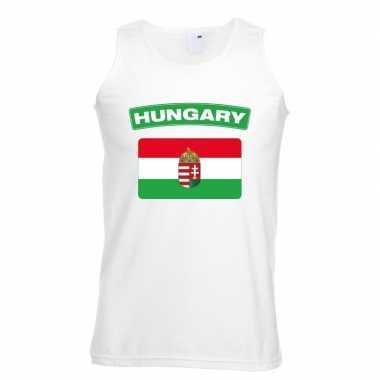 Singlet shirt/ tanktop hongaarse vlag wit heren