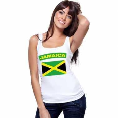 Singlet shirt/ tanktop jamaicaanse vlag wit dames