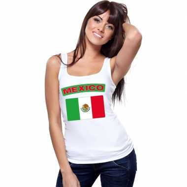 Singlet shirt/ tanktop mexicaanse vlag wit dames