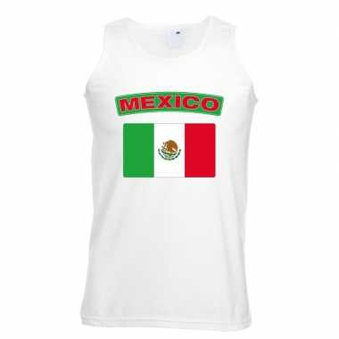 Singlet shirt/ tanktop mexico vlag wit heren