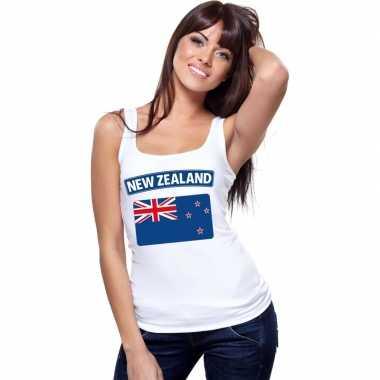 Singlet shirt/ tanktop nieuw zeelandse vlag wit dames