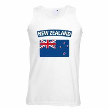 Singlet shirt/ tanktop nieuw zeelandse vlag wit heren